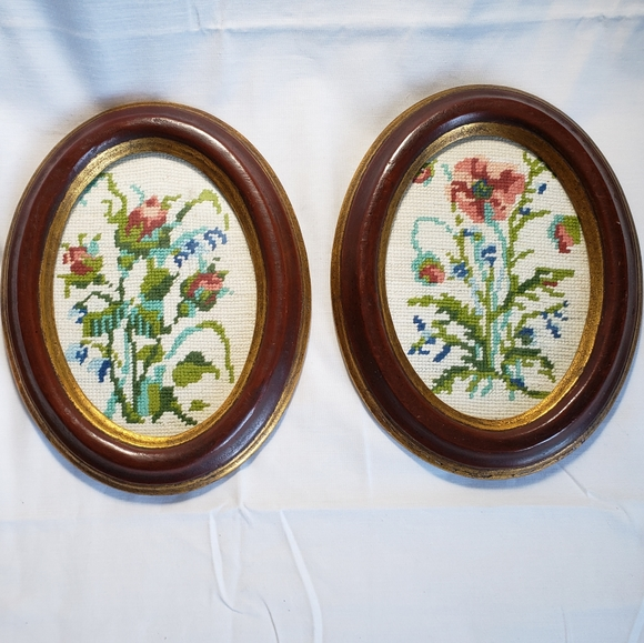 Vintage Other - Two Framed Vintage Needlepoint Floral Wall Art NYC